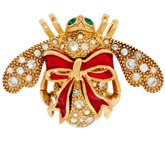 Joan Rivers Holiday Bow Bee Pin - J287373