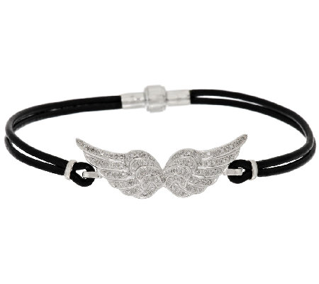 """As Is"" Double Angel Wing Diamond Leather Bracelet 1/3 ct tw, by Affinity"