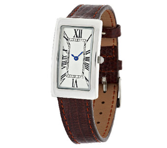 UltraFine Silver Polished Rectangular Dial Leather Strap Watch - J291773