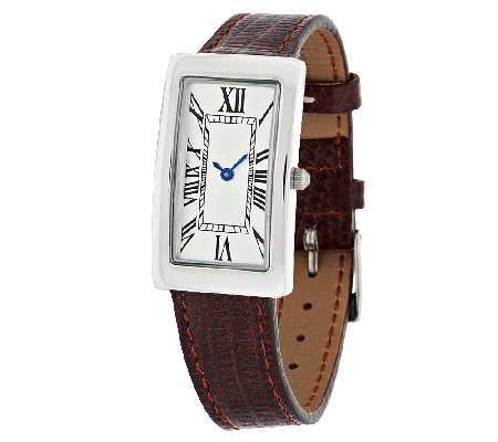 UltraFine Silver Polished Rectangular Dial Leather Strap Watch