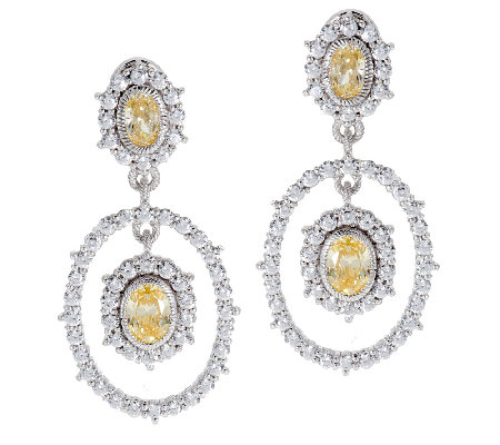 Judith Ripka Sterling Diamonique  & Yellow DMQ Drop Earring