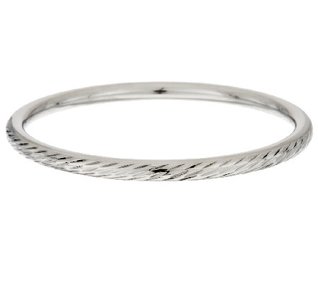 Stainless Steel High Polished & Diamond Cut Round Bangle