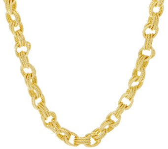 "Bronze 16"" Textured Triple Rolo Link Necklace by Bronzo Italia - J294673"