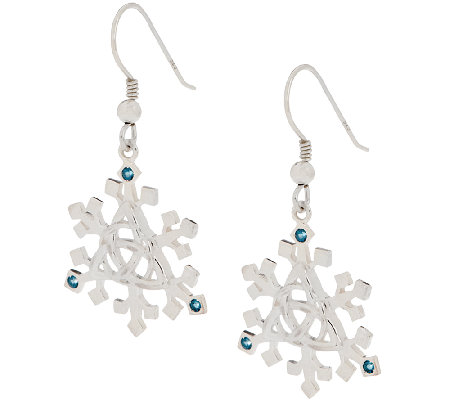 JMH Jewellery Sterling Silver and Blue Topaz Snowflake Earrings