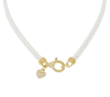 Judith Ripka 14K Clad Braided Necklace with Heart Charm