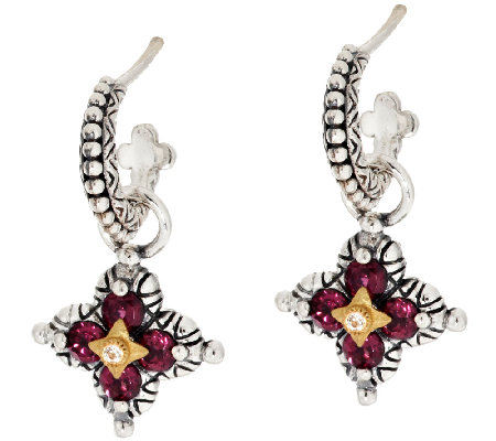 Barbara Bixby Sterling & 18K Flower Gemstone Hoop & Charm Earrings