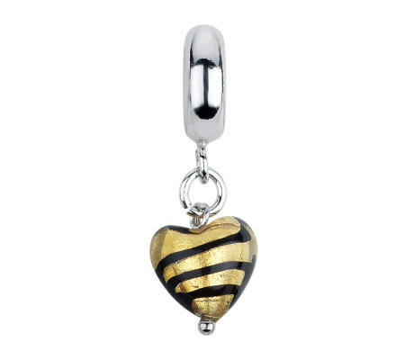 Prerogatives Gold/Black Heart Italian Murano Dangle Glass Bead
