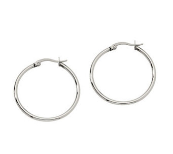 "Stainless Steel 1-1/4"" Hoop Earrings - J302173"