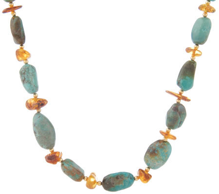 "Lee Sands Amber & Turquoise 28"" Necklace"