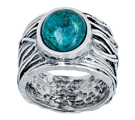 Or Paz Sterling Chrysocolla Wide Band Ring