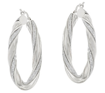 "Vicenza Silver Sterling 1-1/2"" Pave' Glitter Twisted Oval Hoop Earrings - J317273"