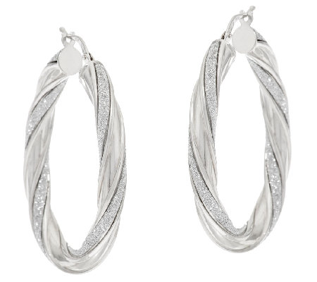 "Vicenza Silver Sterling 1-1/2"" Pave' Glitter Twisted Oval Hoop Earrings"