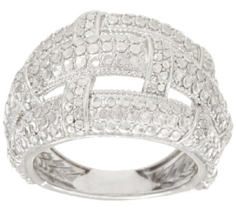 Silver Style Basket Weave Diamond Cut Sterling Domed Ring - J317373