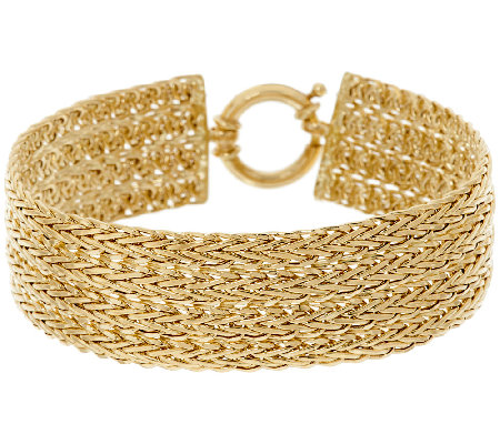"14K Gold 7-1/4"" Polished Four Row Wheat Bracelet, 10.5g"