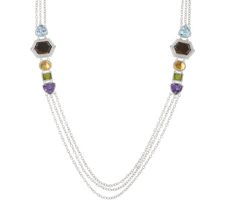 "Judith Ripka Sterling 39.60 cttw Multi-Gemstone 36"" Necklace"