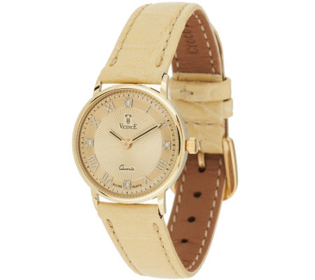 """As Is"" Vicence Diamond Accent Round Dial Leather Strap Watch, 14K"