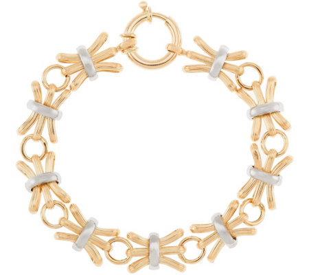 "14K Gold 6-3/4"" Textured & Polished Alternating Bracelet, 6.8g"