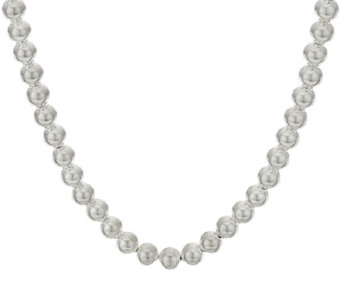 "UltraFine Silver 36"" Polished 8mm Bead Necklace, 37.1g - J321773"