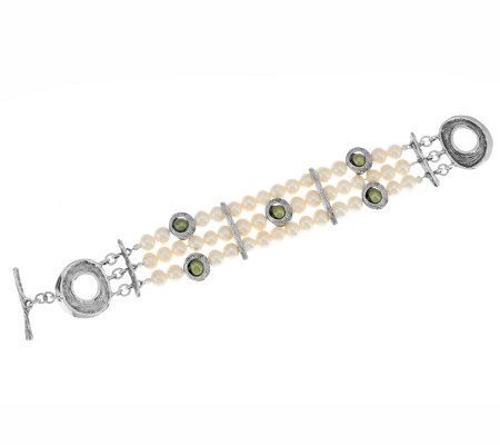 """As Is"" Hagit Sterling Small Triple Strand Cultured Pearl Bracelet"