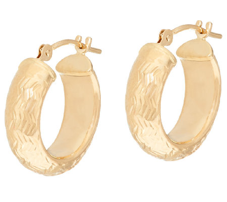 EternaGold Domed Chevron Pattern Hoop Earrings 14K Gold