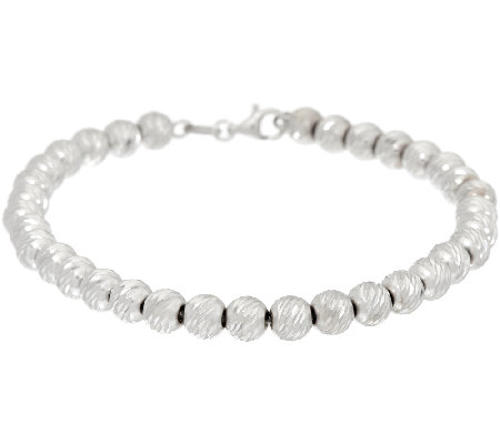"Vicenza Silver Sterling 6-3/4"" Diamond Cut Bead Bracelet, 6.5g"