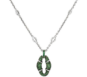 Scott Kay Sterling Silver Tsavorite Pave' Bolo Necklace - J327573