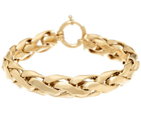 "14K Gold 6-3/4"" Polished Bold Woven Wheat Bracelet, 14.8g"