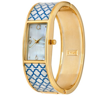 C. Wonder Trellis Print Mother-of-Pearl Dial Hinged Bangle Watch - J329173