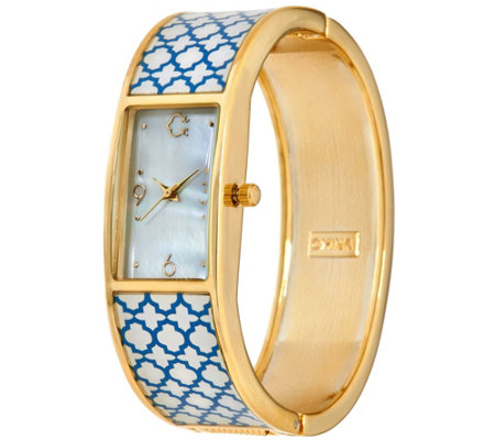 C. Wonder Trellis Print Mother-of-Pearl Dial Hinged Bangle Watch