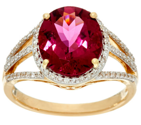 Oval Rubellite & Pave Diamond Bold Ring 14K Gold 4.20 cts