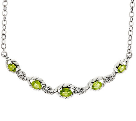 Carolyn Pollack Sterling Silver 9.00 cttw Peridot Adj. Necklace