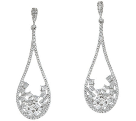Diamond Drop Earrings, Sterling, 1/3 cttw, by Affinity
