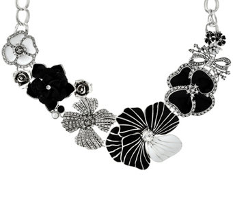 """As Is"" Joan Rivers Charming Blooms Enamel & Pave' Bib Necklace - J331173"