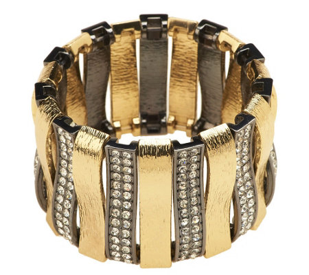 """As Is"" Luxe Rachel Zoe Arch of Texture & Pave' Stretch Bracelet"