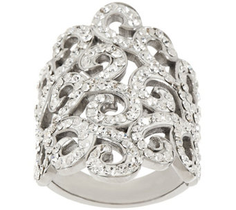 """As Is"" Stainless Steel Crystal Scroll Design Ring - J331773"