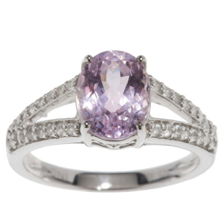 """As Is"" 2.40 ct tw Oval Kunzite & White Zircon Sterling Ring"