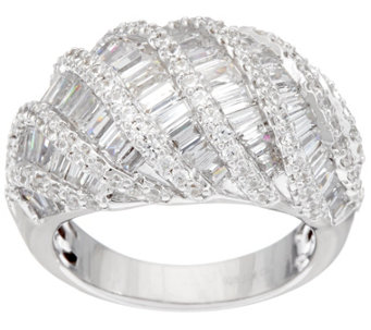 Diamonique 2.00 cttw Baguette Dome Design Ring, Sterling - J333073