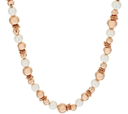 """As Is"" Honora Cultured Pearl 10.0mm Bronze Bead Necklace"