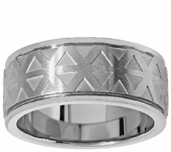 Men's Titanium Band Ring w/Brushed Geometric Design - J337873