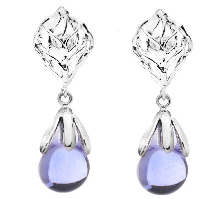 Kalos by Hagit Sterling Blue Glass Drop Earrings