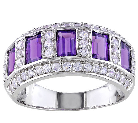 Sterling Amethyst & Created White Sapphire BandRing