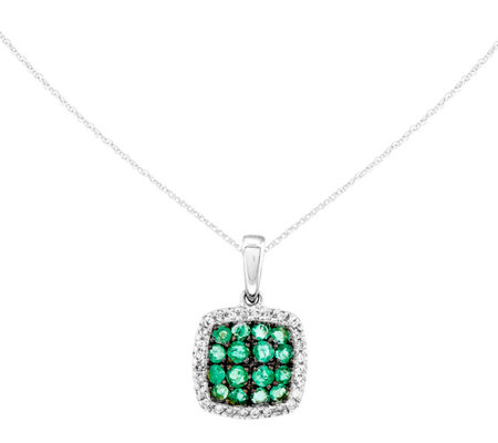 Precious Gemstone Pendant w/ Chain, 14K White Gold