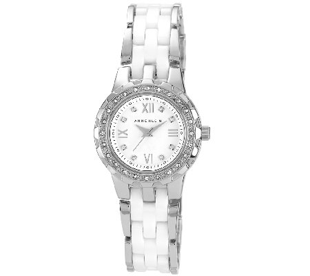 Anne Klein Women's Crystal Accented White Ceramic Watch