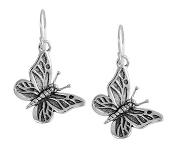 Sterling Silver Butterfly Dangle Earrings by OrPaz - J339473