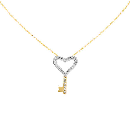 "Two-tone Diamond Heart Key Pendant with 18"" Chain, 14K"