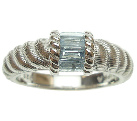 Judith Ripka Sterling Silver and Aquamarine Ring