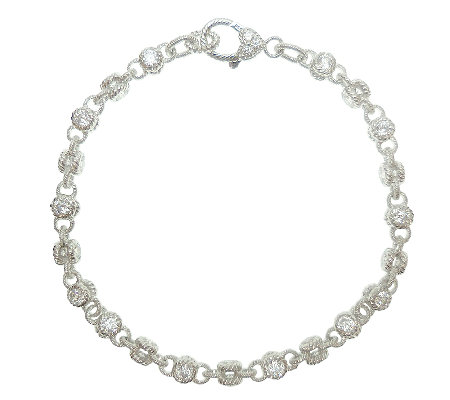 "Judith Ripka Sterling 100-Facet Diamonique 10""Ankle Bracelet"