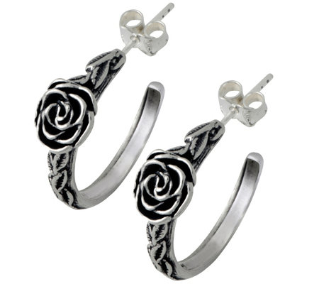 Sterling Round Rose Hoop Earrings by Or Paz