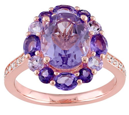 Sterling 3.75 cttw Amethyst & Rose de France Ring