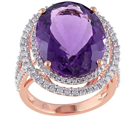 19.35 ct Amethyst and 9/10 cttw Diamond Ring, 14K Rose Gold